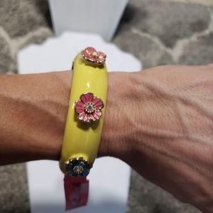 Betsey Johnson Yellow Enamel Flower Hinge Bracelet